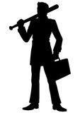 Silhouette businessman with a baseball bat Royalty Free Stock Photo