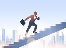 Silhouette Businessman Climb Stairs Up Business Man Growth. Vector Illustration Royalty Free Stock Photography