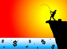 Silhouette of businessman fishing for money Stock Images