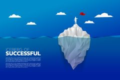 Silhouette of businessman with flag standing on top of iceberg. stock illustration