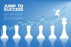 Silhouette of businessman jumping on chess piece from pawn to queen with business graph background. royalty free illustration