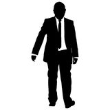 Silhouette businessman man in suit with tie on a white background. Vector illustration Stock Photos