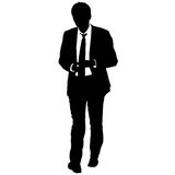 Silhouette businessman man in suit with tie on a white background. Vector illustration Royalty Free Stock Images