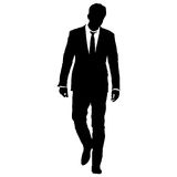 Silhouette businessman man in suit with tie on a white background. Vector illustration Stock Images