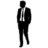 Silhouette businessman man in suit with tie on a white background. Vector illustration Stock Image
