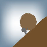 Silhouette of Businessman pushing a huge stone uphill, vector illustration in flat design Stock Photography