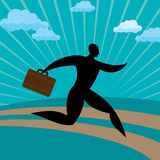 Silhouette businessman run away. Against blue background Royalty Free Stock Photo