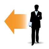 Silhouette of Businessmen. On the abstract background Stock Images