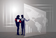 Silhouette Businesspeople Group Business Man And Woman Sketch Abstract World Map Background Stock Image