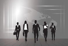 Silhouette Businesspeople Group Business Man And Woman Sketch Abstract World Map Background Stock Photo