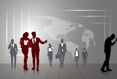 Silhouette Businesspeople Group Business Man And Woman Sketch Abstract World Map Stock Image