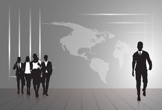 Silhouette Businesspeople Group Business Man And Woman Sketch Abstract World Map Background Stock Photos
