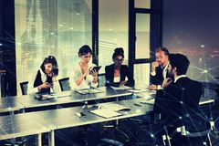 Businessperson in office with network effect. concept of partnership and teamwork Royalty Free Stock Image