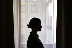 Silhouette of businesswoman Stock Images