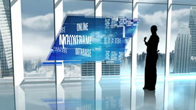 Silhouette of businesswoman presenting cloud computer words stock footage