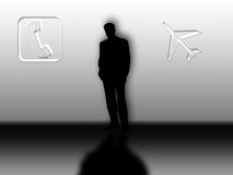 Silhouette of busy business man Royalty Free Stock Image