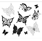 Silhouette of butterflies Royalty Free Stock Photo