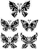 Silhouette butterfly collection Royalty Free Stock Photos