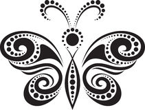 Silhouette of a butterfly from the lines and point Royalty Free Stock Images