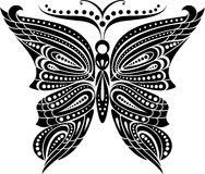 Silhouette butterfly with open wings tracery. Black and white drawing Stock Images