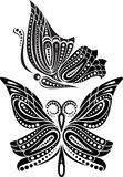 Silhouette butterfly with open wings tracery. Black and white drawing Stock Photo