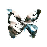 Silhouette of a butterfly with watercolor colorful abstract back Stock Image