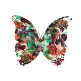 Silhouette of a butterfly with watercolor colorful abstract back Royalty Free Stock Images