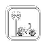 Silhouette button bicycle parking area Royalty Free Stock Image