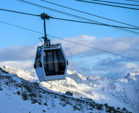 Silhouette cableway in motion in morning Stock Photography