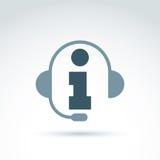 Silhouette of call center operator in the headphones, consultati Stock Image