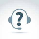 Silhouette of call center operator in the headphones, consultati Stock Photography