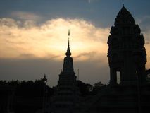 Silhouette Cambodge Photo stock