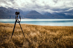 Silhouette of camera on tripod Royalty Free Stock Image