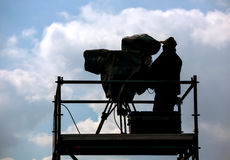 Silhouette of cameraman Stock Images