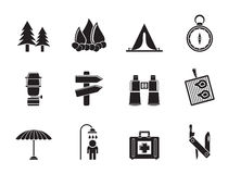 Silhouette Camping, travel and Tourism icons Royalty Free Stock Images