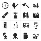 Silhouette Camping, travel and Tourism icons vector illustration