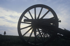 Silhouette of cannon at site of Battle of Manassas, Virginia, location of the battle that started Civil War Stock Photography
