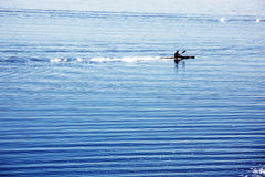 Silhouette of canoe rower. A silhouette of a canoe rower practicing on a lake Royalty Free Stock Photography