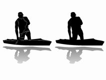 Silhouette of canoeist , vector drawing. Illustration Canoe Sprint . black and white sketch, white background Stock Photo