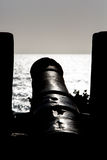 Silhouette of a canon in Cartagena Royalty Free Stock Photography