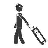 Silhouette captain pilot walking with suitcase Stock Image