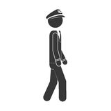 Silhouette captain pilot walking to the right side Stock Photo