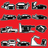 Silhouette car accident Stock Image