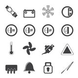 Silhouette Car Dashboard icons Royalty Free Stock Photography