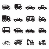 Silhouette car icons set Stock Photos