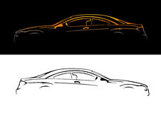 A silhouette of a car. A silhouette of a car,  illustration Royalty Free Stock Photography