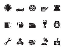 Silhouette car parts, services and characteristics icons Royalty Free Stock Photos