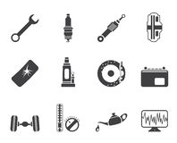 Silhouette Car Parts and Services icons Royalty Free Stock Photo