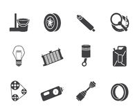 Silhouette Car Parts and Services icons Stock Image