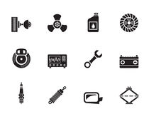 Silhouette Car Parts and Services icons Stock Photos